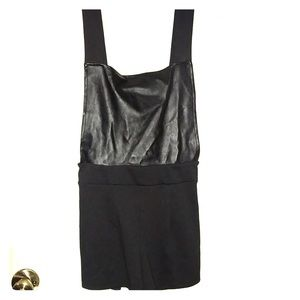 Black Pleather Short Overalls